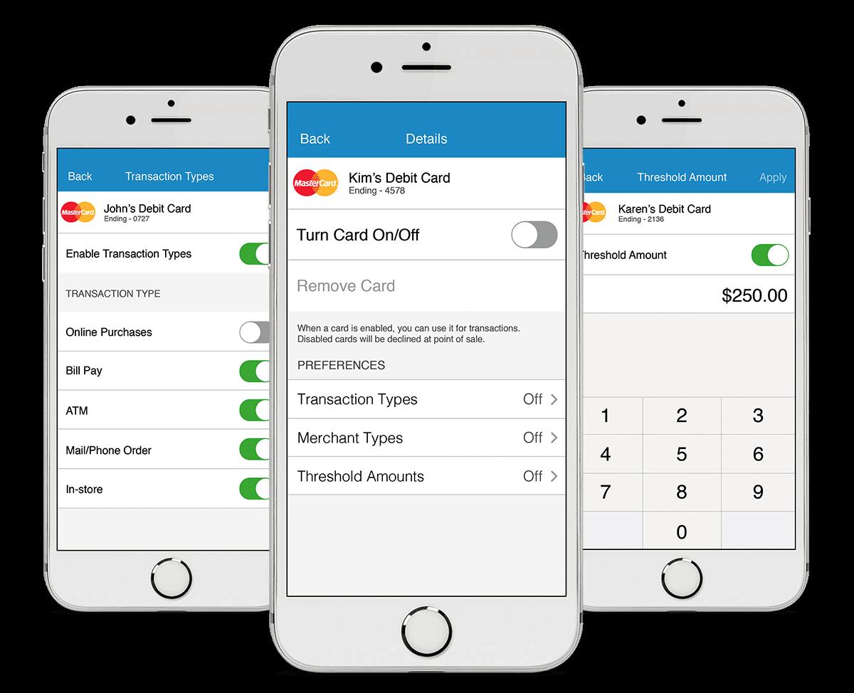 phones displaying debit card control options
